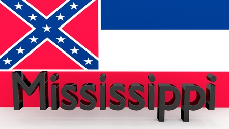 Writing with the name of the US state Mississippi made of dark metal  in front of state flag photo