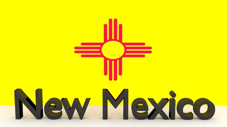 senators: Writing with the name of the US state New Mexico made of dark metal  in front of state flag Stock Photo