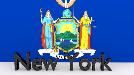 senators: Writing with the name of the US state New York made of dark metal  in front of state flag Stock Photo
