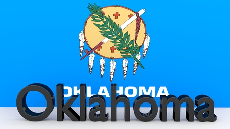 senators: Writing with the name of the US state Oklahoma made of dark metal  in front of state flag