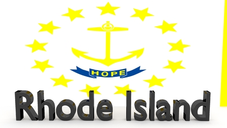 senators: Writing with the name of the US state Rhode Island made of dark metal  in front of state flag