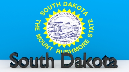 senators: Writing with the name of the US state South Dakota made of dark metal  in front of state flag