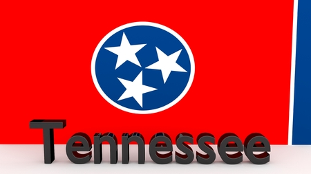 senators: Writing with the name of the US state Tennessee made of dark metal  in front of state flag