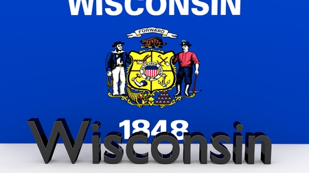 state wisconsin: Writing with the name of the US state Wisconsin made of dark metal  in front of state flag