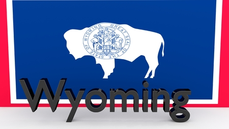senators: Writing with the name of the US state Wyoming made of dark metal  in front of state flag