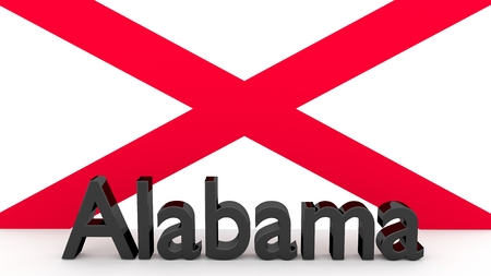 alabama flag: Writing with the name of the US state Alabama made of dark metal  in front of state flag