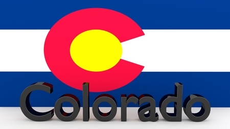 senators: Writing with the name of the US state Colorado made of dark metal  in front of state flag