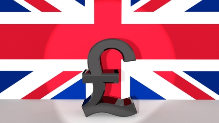british currency: Currency symbol Pound made of dark metal in spotlight in front of british flag