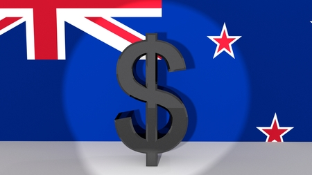Currency symbol New Zealand Dollar made of dark metal in spotlight in front of flag photo