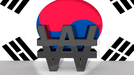 Currency symbol South Korean Won made of dark metal in spotlight in front of South Korean flag