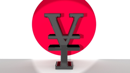 foreign currency: Currency symbol for japanese Yen, made of dark metal, in front of japanese flag