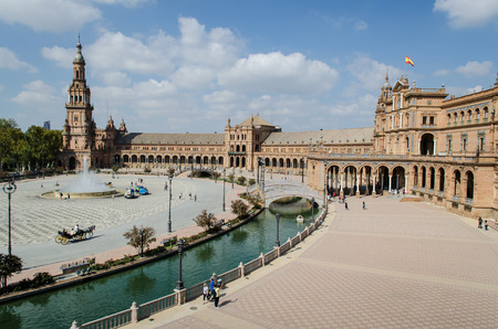 second floor: View of the Plaza of Spain from the second floor of the balustrade, Seville, Andalusia, Spain