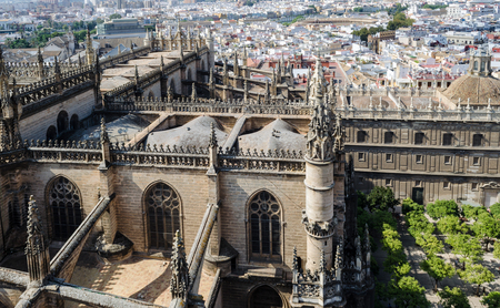 antiquity: SEVILLE, SPAIN - OCTOBER 11, 2016: Seville from Giralda, antiquity and modernity next door, Cathedral, Andalusia, Spain Editorial