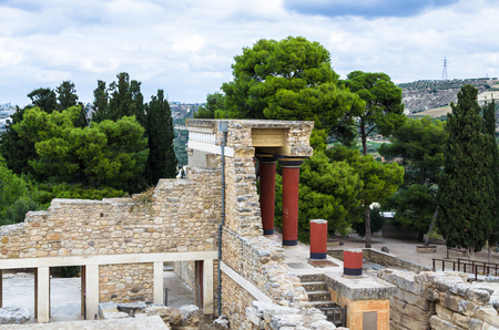 Crete, Greece - November 2, 2017: scenic ruins of the Minoan Palace of Knossos. Knossos palace is the largest archaeological site on Crete of the Minoan civilization and culture Editorial