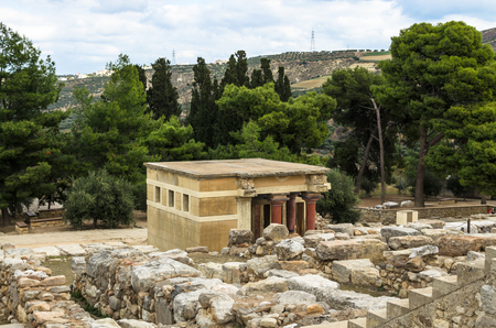 Crete, Greece - November, 2017: scenic ruins of the Minoan Palace of Knossos. Knossos palace is the largest archaeological site on Crete of the Minoan civilization and culture