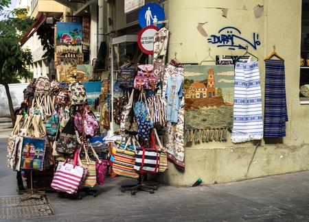 HERAKLION, GREECE - November, 2017: Souvenir shop on the central street of Heraklion, Crete Redakční