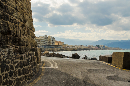 View of Heraclion harbor from Old Venetian Fortress Koule, Crete