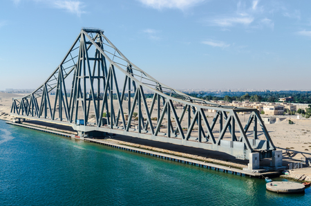Panoramic view of the western side of the Suez Canal, with swing bridge part. View from the water