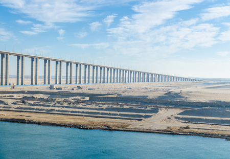 View of the Suez Canal Bridge, also known as Al Salam Bridge, Egyptian-Japanese Friendship Bridge, Al Salam Peace Bridge, Mubarak Peace Bridge going into the distance.