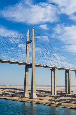 View of the Suez Canal Bridge, also known as Al Salam Bridge, Egyptian-Japanese Friendship Bridge, Al Salam Peace Bridge, Mubarak Peace Bridge. The Suez Canal Bridge is a road bridge crossing the Suez Canal at El Qantara