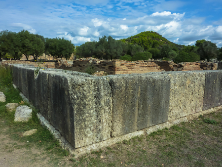 Ruins of the ancient Olympia, site of original olympic games, Peloponnes, Greece Stock Photo