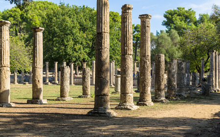 Olympia, Greece - October 31, 2017: Ruins of the ancient Olympia, site of original olympic games, Peloponnes, Greece Editorial