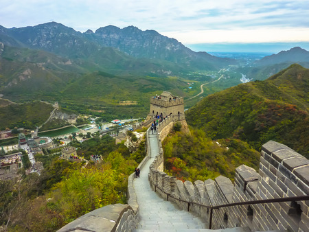 Tourists visiting the Great Wall of China near Beijing
