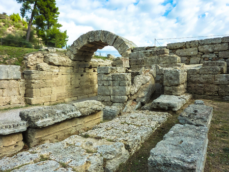 Olympia, Greece - October 31, 2017: Arch at Olympia, Olympia - Ruins of Olympia, Peloponnese, Greece. Фото со стока