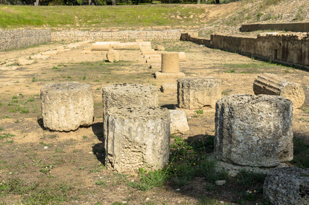 Ancient ruins of the archaeological site of Olympia in Peloponnese, Gymnasion Greece.