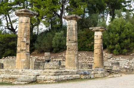 Ancient ruins of the archaeological site of Olympia in Peloponnese, Greece.
