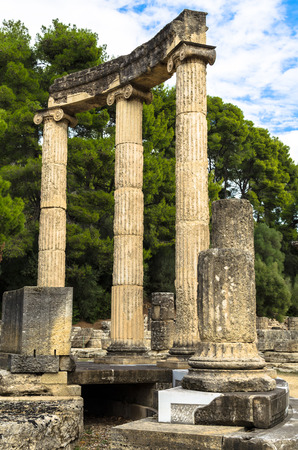 Ancient ruins of the archaeological site of Olympia in Peloponnese, Gymnasion, Greece. Фото со стока