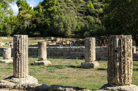 OLYMPIA, GREECE - October 31, 2017: Ruins of the archaeological site of Olympia in Peloponnese, Gymnasion Greece. In antiquity the Olympic Games were hosted in Olympia from 776 BC, Olympia, Greece