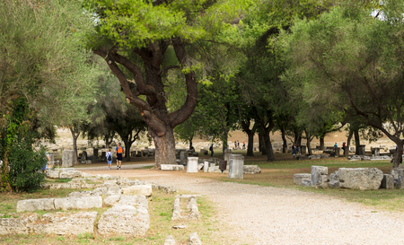 OLYMPIA, GREECE - October 31, 2017: Ruins of the Olympia in Peloponnese, Gymnasion Greece. In antiquity the Olympic Games were hosted in Olympia from 776 BC, Olympia, Greece Редакционное