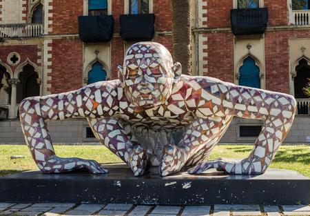 Reggio Calabria, Italy - October 30, 2017: Modern sculpture of the artist Paola Epifani (Rabarama) Редакционное