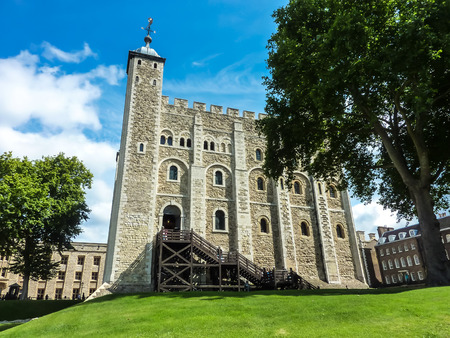 Tower of London, White Tower in a sunny day, famous place, international landmark, London, Great Britain
