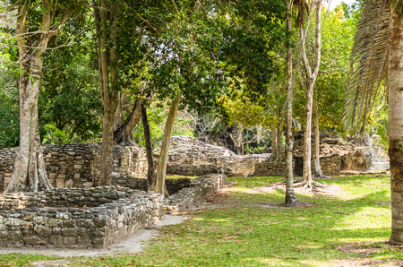 Ruins at the Mayan city of Kohunlich - large archaeological site of the pre-Columbian Maya civilization, the Yucatán Peninsulain, the state Quintana Roo, Mexico