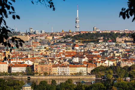 Prague, Czech republic - September 19, 2020. Panorama of Moldau (Vltava) riverbank with view to the city, Zizkov Tower and Pragues roof