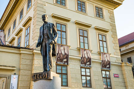 Prague, Czech republic - September 19, 2020. Statue of president with his posters in background with his motto: Do not be afraid, do not lie and do not steal.