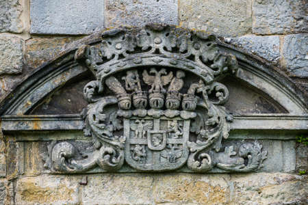 Kuks, Czech republic - May 15, 2021. Coat of arms of Sporck family in hospital area