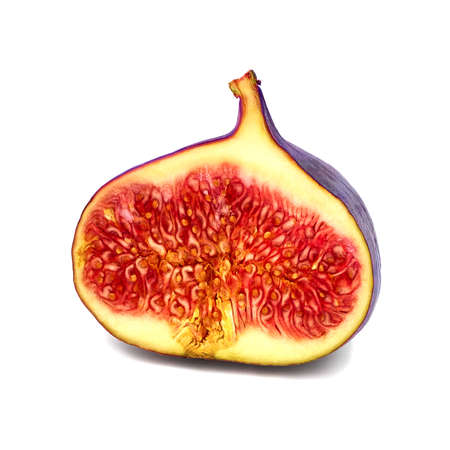 Figs slice isolated on white background with shadow. Figs half.