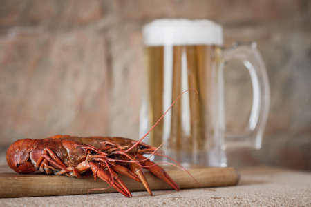 Boiled red crawfish on the wooden surface against a mug of beer background. Closeup, selective focus, toned, brick brown background