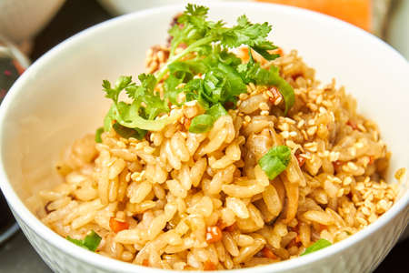 Chahan with seafood, rice, vegetables and soy sauce