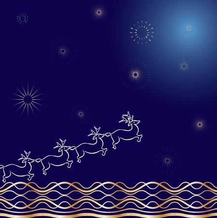 Santa`s deer blue Vector