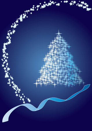 year curve: Fir tree  blue, Merry Christmas and Happy New Year! vector illustration