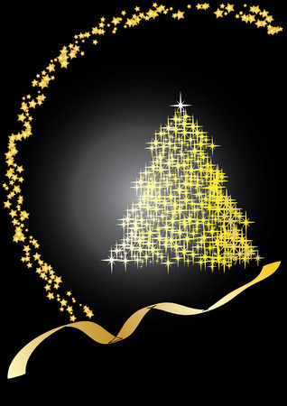 Fir tree black&gold, Merry Christmas and Happy New Year!	vector illustration