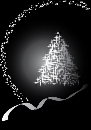 traditional silver wallpaper: Fir tree  black&white, Merry Christmas and Happy New Year! vector illustration Illustration