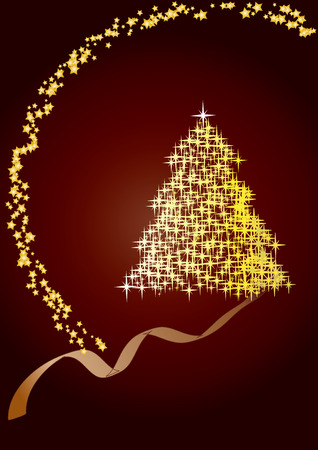 Fir tree  brown, Merry Christmas and Happy New Year! vector illustration Vector