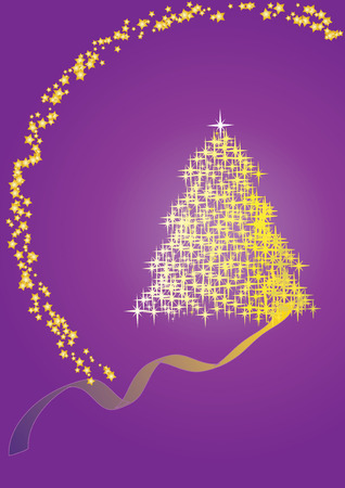 Fir tree  violet, Merry Christmas and Happy New Year!vector illustration Stock Vector - 5903244