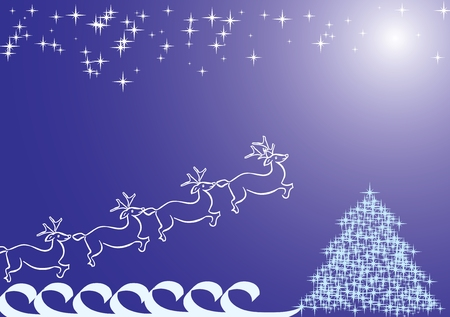 Santa`s deer blue Vector