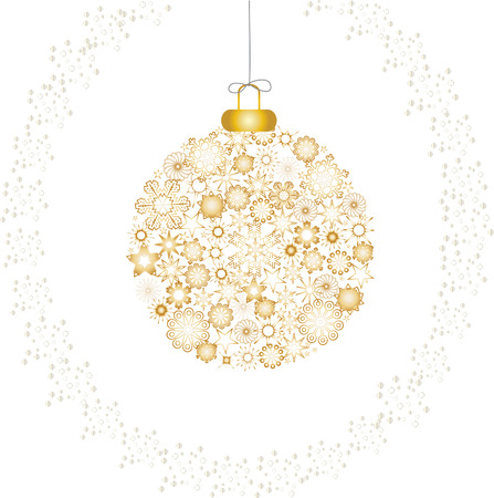 Christmas decoration snowflakes gold white Vector